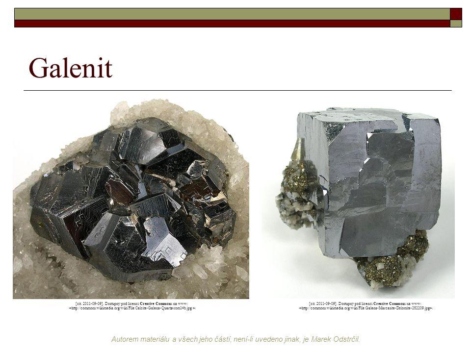 Galenit [cit. 2011-09-09]. Dostupný pod licencí Creative Commons na www: <http://commons.wikimedia.org/wiki/File:Calcite-Galena-Quartz-rom14b.jpg >.